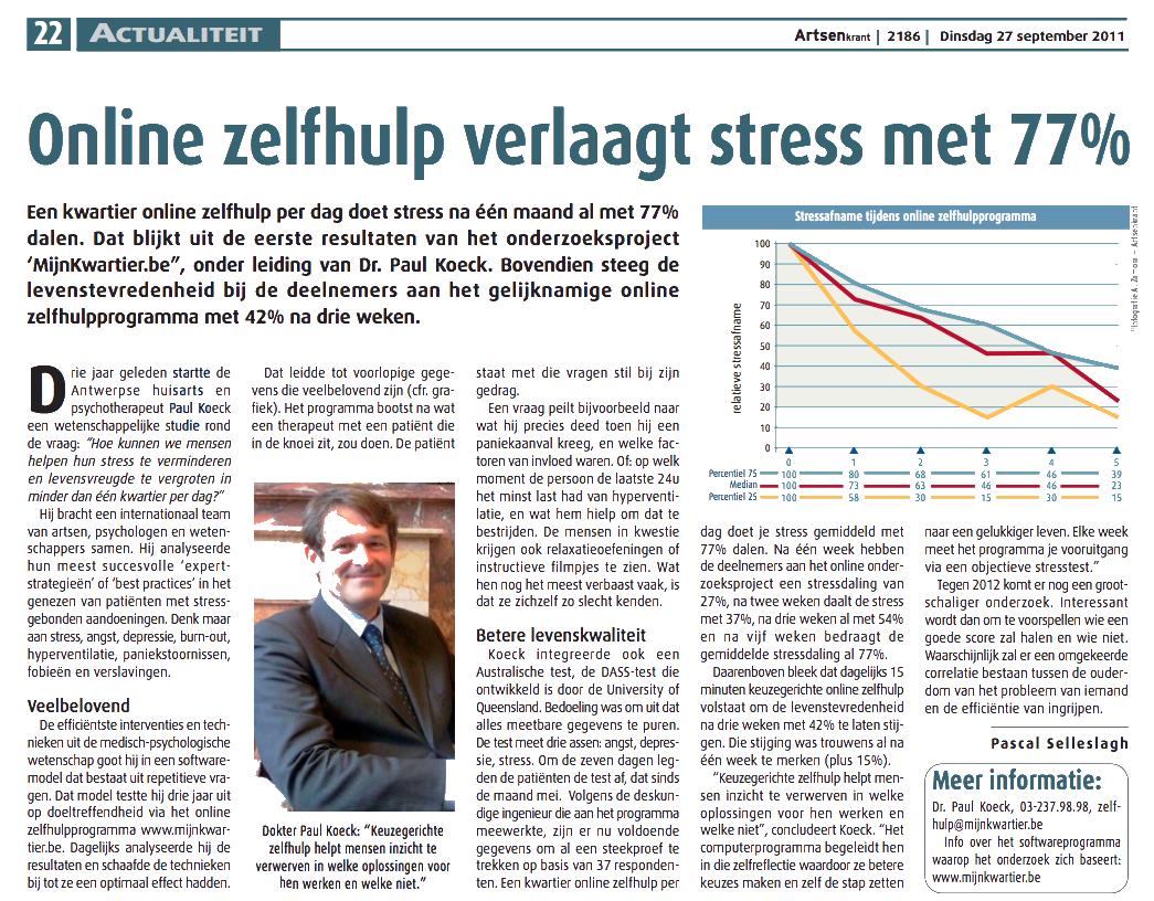 Online zelfhulp verlaagt stress artsen krant mijn for Le stress